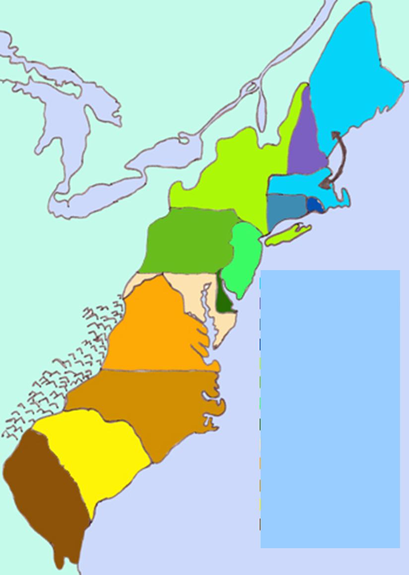 13 Colonies 13 colonies map